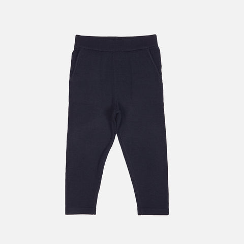 Merino Fine Knit Kids Pants - Navy - 2-8y