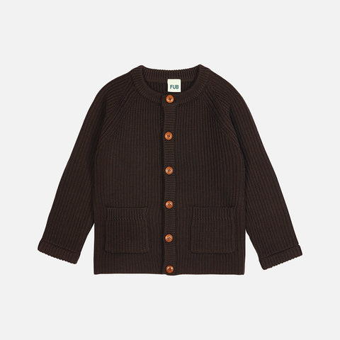 Merino Chunky Rib Jacket - Brown - 2-12y