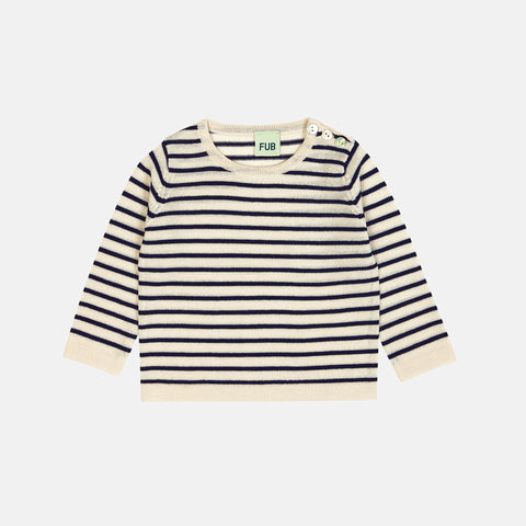 Merino Baby Striped Blouse - Ecru/Navy - 3-18m