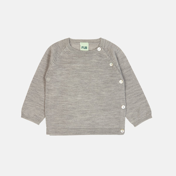 Merino Baby Basic Cardigan - Grey - 0-2y