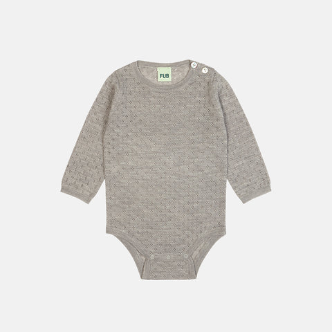 Merino Baby Pointelle Body - Light Grey - 0-2y