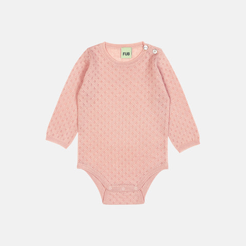 Merino Baby Pointelle Body - Rose - 0-2y