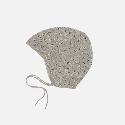 Merino Baby Pointelle Bonnet - Light Grey - 0-18m