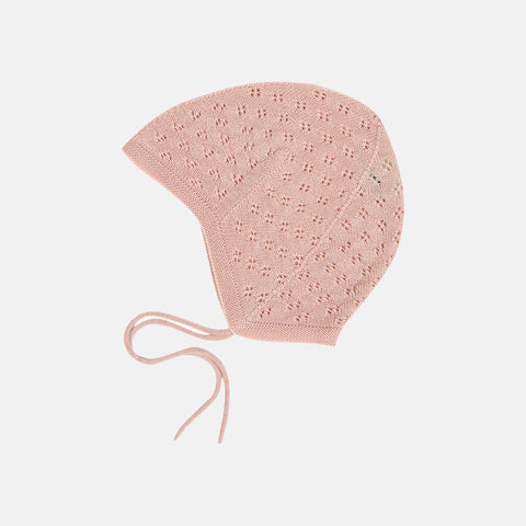 Merino Baby Pointelle Bonnet - Rose - 0-18m