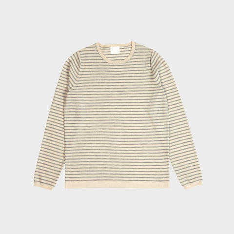 Women's Merino Striped Blouse - Ecru/Light Grey