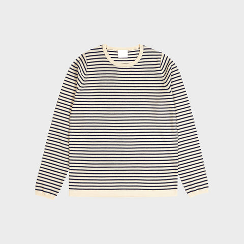 Women's Merino Striped Blouse - Ecru/Navy