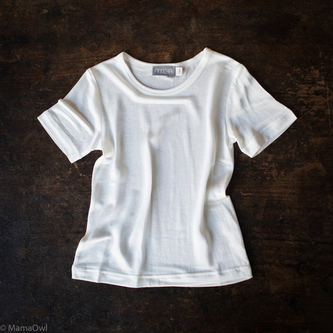 Organic Silk Jersey Short Sleeve Kids Shirt - Natural White - 4-13y
