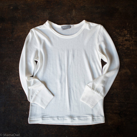 Organic Silk Jersey Long Sleeve Kids Shirt - Natural White - 4-13y