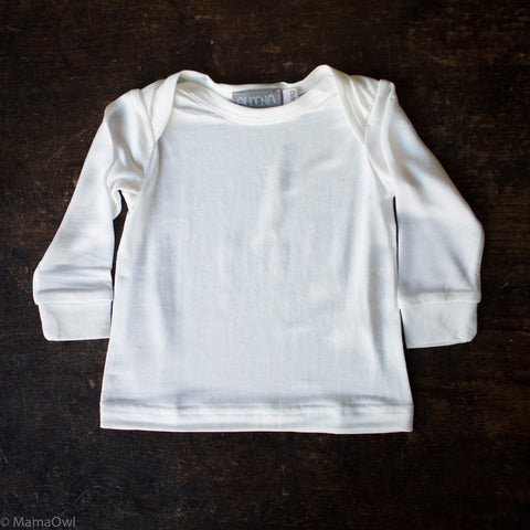 Organic Silk Jersey Long Sleeve Baby Shirt - Natural White - 3m-2y