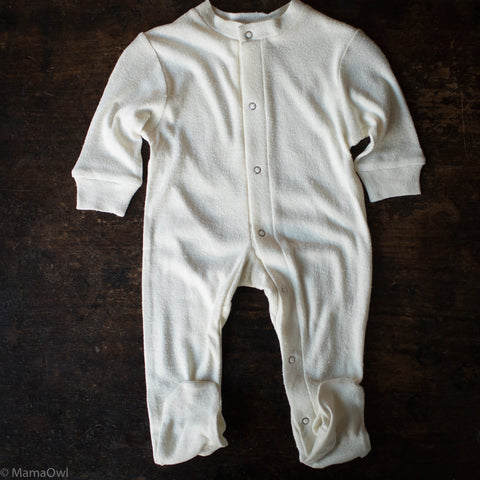 Organic Bourette Silk Babygrow - Natural White - 3m-2y