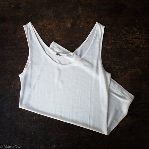 Organic Silk Jersey Adult Camisole - White - S-L
