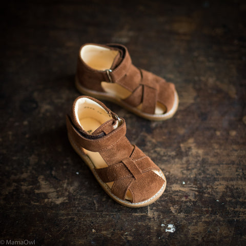 Cross Strap Toddler Sandal - Nut Brown Suede