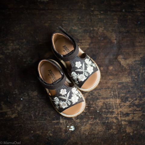 Vegan Open Toe Toddler Sandal - Dark Brown