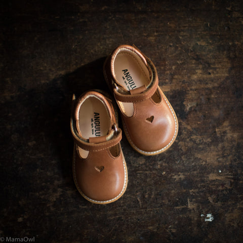 T-Bar Heart Toddler Shoes - Tan