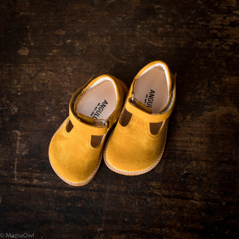 T-Bar Shoes - Yellow Suede - 20 (UK 4) -25 (UK 8)