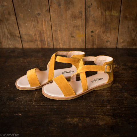 Women's Cross Strap Sandals - Yellow Suede - 37-40 (UK 4-7)