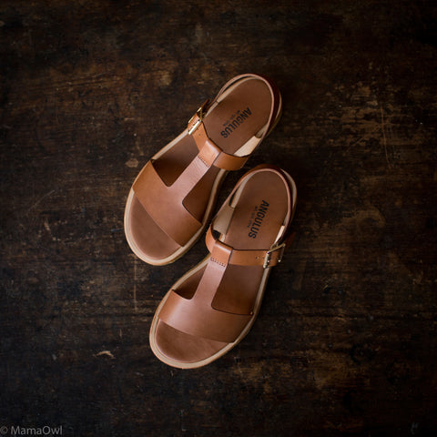 Women's T-Bar Sandals - Tan - 37-40 (UK 4-7)