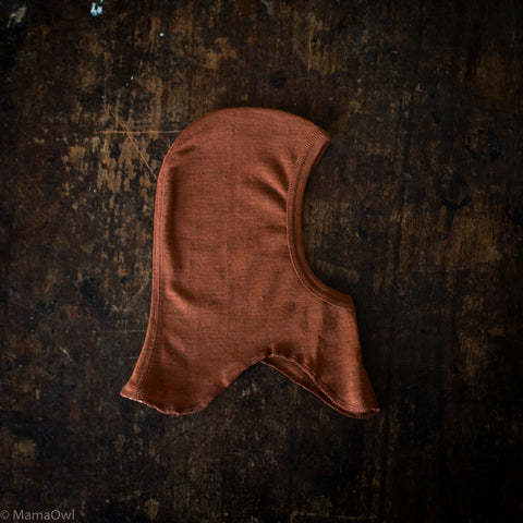 Exclusive Organic Silk & Merino Baby & Small Kids Balaclava - Deep Rust