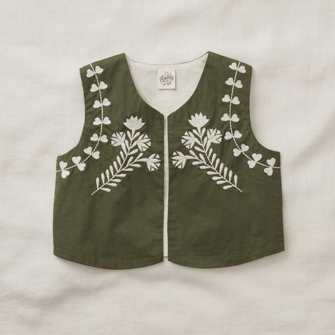 Exclusive Cotton Bo Summer Gilet - Olive - 2-7y