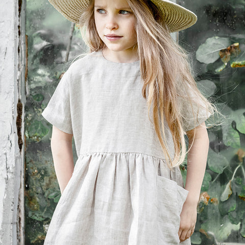 Linen Pocket Dress SS - Oatmeal - 6m-8y