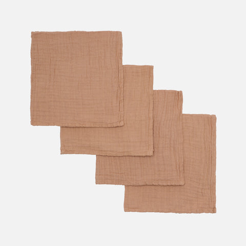 Organic Cotton Muslins - Caramel - 4 Pack