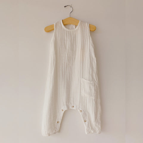 Cotton Finn Romper - White - 0-24m