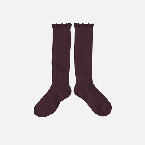 Babies & Kids Cotton Knee Socks With Lace  - Aubergine - 1-12y