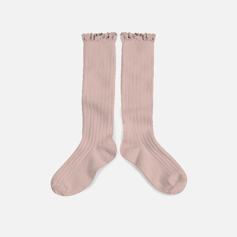Babies & Kids Cotton Knee Socks With Lace  - Old Rose - 1-12y