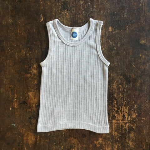 Organic Merino Wool, Cotton & Silk Sleeveless Top/Vest - Silver