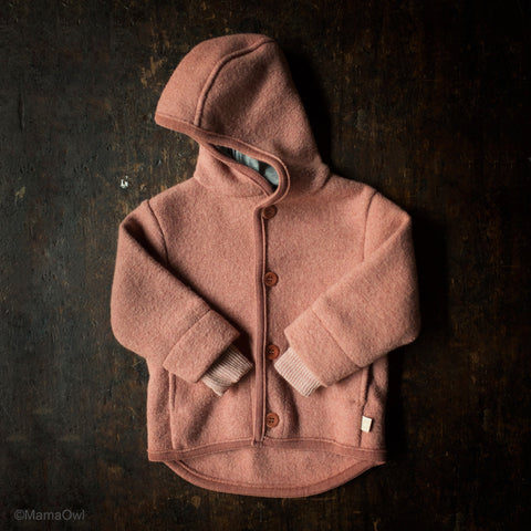 Organic Boiled Merino Wool Jacket - Rose