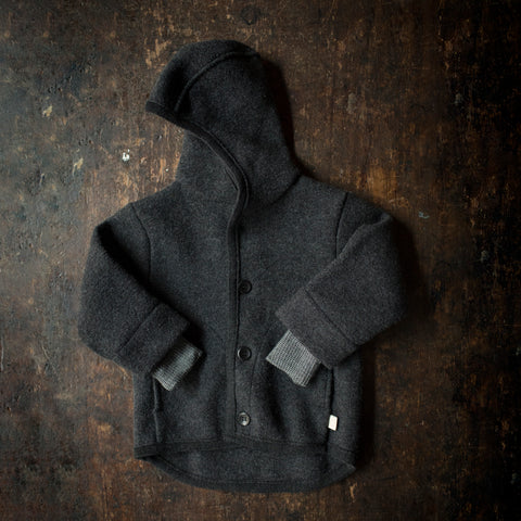 Organic Boiled Merino Wool Jacket - Anthracite