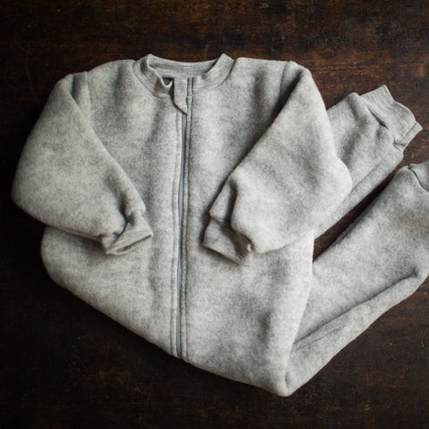 100% Organic Merino Wool Zip Fleece Suit - Light Grey