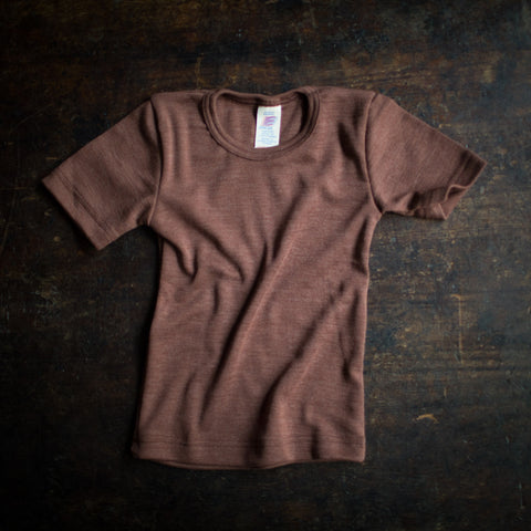 Exclusive Organic Silk & Merino Kids SS Top -Hazelnut