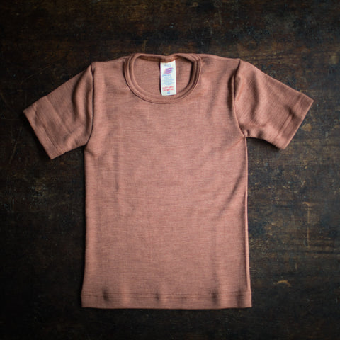 Exclusive Organic Silk & Merino Kids SS Top - Rosewood
