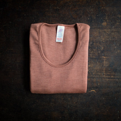 Exclusive Organic Silk & Merino Wool Women's LS Top -Rosewood
