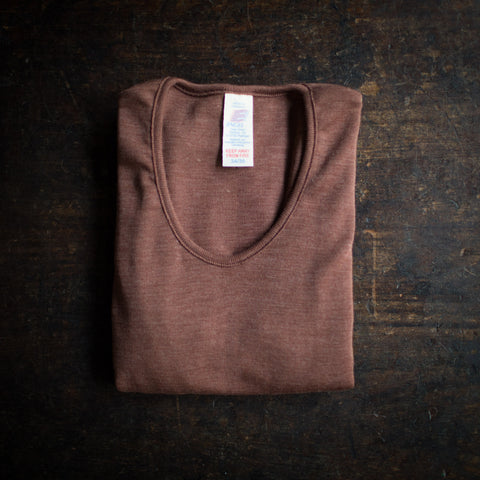 Exclusive Organic Silk & Merino Wool Women's LS Top -Hazelnut
