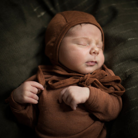 Exclusive Organic Silk & Merino Baby Bonnet - Deep Rust