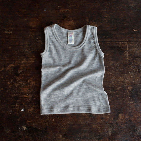 Organic Silk & Merino Wool Sleeveless Vest - Grey - 1-12y