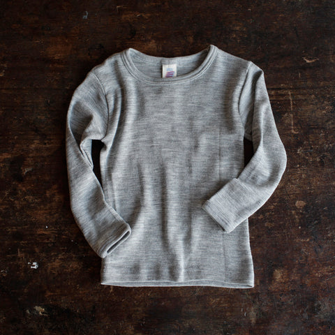 Organic Silk & Merino Wool Long Sleeve - Grey - 1-12y