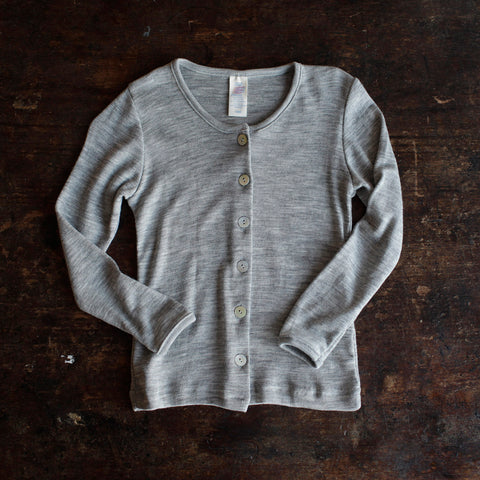 Organic Wool/Silk Cardigan - Grey - 3-12y