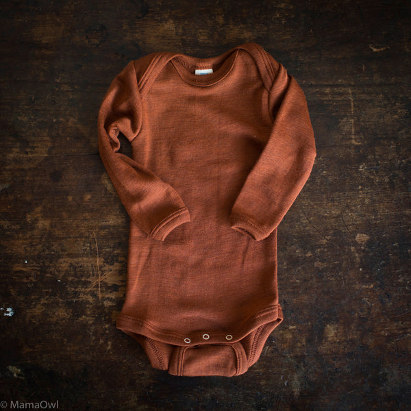 Exclusive Organic Silk & Merino Baby Body - Deep Rust