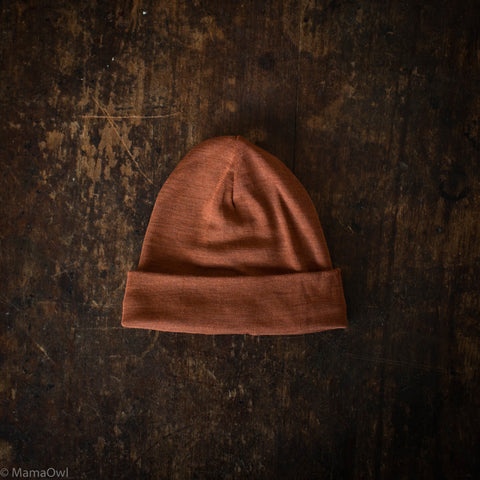 Exclusive Organic Silk & Merino Baby Hat - Deep Rust