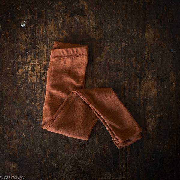 Exclusive Organic Silk & Merino Kids Leggings - Deep Rust