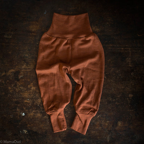 Exclusive Organic Silk & Merino Baby Pants - Deep Rust