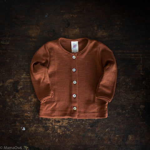Exclusive Organic Silk & Merino Baby Cardigan - Deep Rust