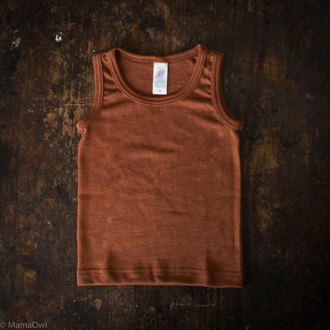 Exclusive Organic Silk & Merino Kids Sleeveless Top - Deep Rust