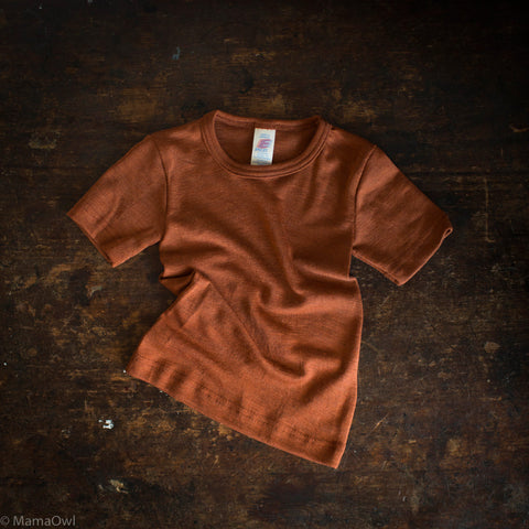 Exclusive Organic Silk & Merino Kids SS Top - Deep Rust