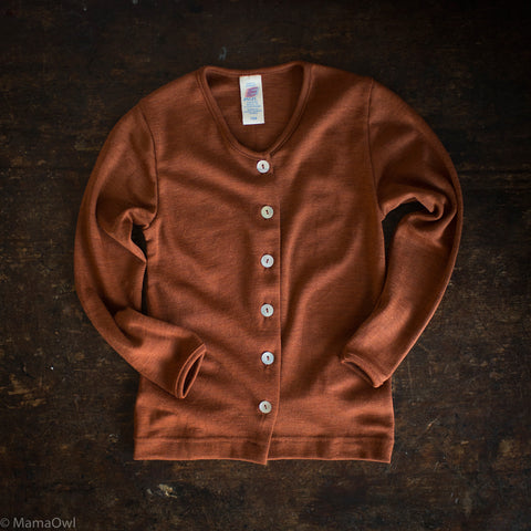 Exclusive Organic Silk & Merino Kids Cardigan - Deep Rust