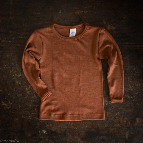 Exclusive Organic Silk & Merino Kids LS Top - Deep Rust