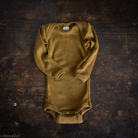 Exclusive Organic Silk & Merino Baby Body - Deep Ochre